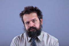 Exhausted man with bushy hair and beard Royalty Free Stock Photo