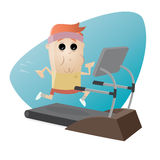 Exhausted man running on treadmill Royalty Free Stock Photography