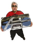 Exhausted Man with Tape Deck Royalty Free Stock Photos