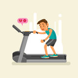 An exhausted man on a treadmill. vector illustration Stock Image