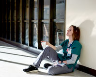Exhausted Nurse Sitting On The Floor Stock Image