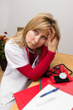 Exhausted nurse Stock Photography