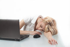 Exhausted office worker Royalty Free Stock Photos