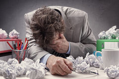 Exhausted and overworked Stock Photography