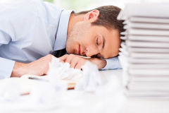 Exhausted and overworked. Royalty Free Stock Photos