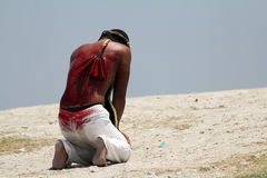 Exhausted penitent during Easter holy week in Philippines Royalty Free Stock Images