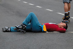 Exhausted after the race competitor Stock Photo