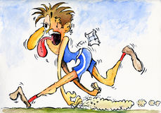 Exhausted Runner. Watercolour, ink and mixed media cartoon illustration of an Exhausted runner at the end of a race royalty free illustration