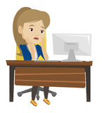 Exhausted sad employee working in office. Exhausted caucasian employee sitting at workplace in front of computer in office. Overworked employee working with royalty free illustration