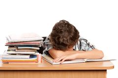 Exhausted schoolboy Royalty Free Stock Photo