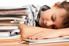 Exhausted schoolboy Royalty Free Stock Photos