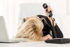 Exhausted Secretary Royalty Free Stock Photography