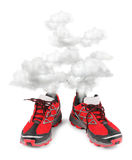 Exhausted sport running shoes. Steaming, isolated on white background Royalty Free Stock Photography