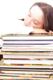 Exhausted student Royalty Free Stock Photo