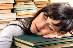 Exhausted student girl Stock Photo