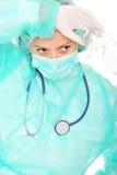 Exhausted surgeon Stock Image