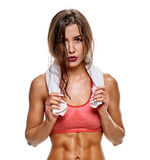 Exhausted sweaty sportswoman Royalty Free Stock Photo