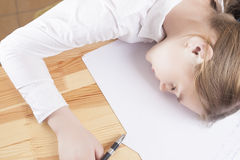 Exhausted Teenage Girl Sleeping Stock Images