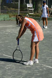 Exhausted tennis player Royalty Free Stock Photography