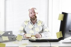 Office Worker with Notes Everywhere Royalty Free Stock Photo