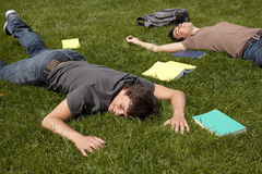 Exhausted with to much study Stock Photos