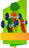 Exhausted vegetables lifting weight label with blank ribbon Stock Image