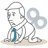 Exhausted wind-up cartoon businessman Royalty Free Stock Photos