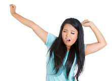 Exhausted woman, businesswoman, secretary, worker stretching and yawning Stock Images