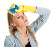 Exhausted woman after cleaning routine Royalty Free Stock Photography
