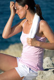 Exhausted woman after exercise Stock Image