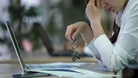 Free Exhausted Woman Manager Taking Off Glasses And Rubbing Eyes, Overworked Employee Royalty Free Stock Photography - 113759617