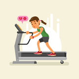 An exhausted woman on a treadmill. vector illustration Stock Photo