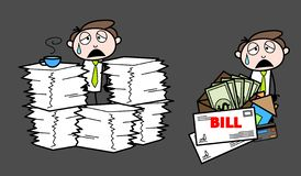 Exhausted with work load and bills Cartoon Professional Businessman. Vector design stock illustration