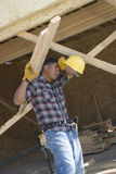 Exhausted Worker Holding Wooden Beams Stock Photos