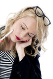 Exhausted Young Business Woman Royalty Free Stock Photo