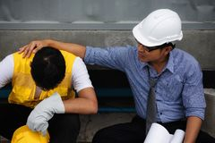 Exhausted young foreman at construction site Stock Photography