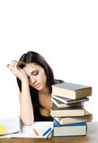 Exhausted young student woman. Royalty Free Stock Photos