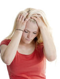 Exhausted young woman Stock Photo