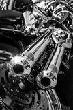 Exhausts of motorcycle Harley Davidson Softail. Royalty Free Stock Photo