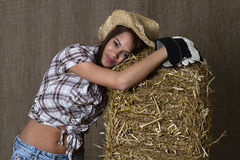 Exhauted cowgirl Stock Photo