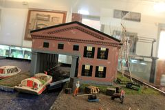 Exhibez montrer la vie sur le canal mystérieux quand il avait lieu dans son apogée, musée de canal, Syracuse, New York, 2017 photographie stock libre de droits