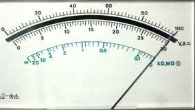 Exhibición análoga del multímetro almacen de video