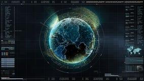 Exhibición ascendente de la cabeza de alta tecnología de la interfaz de usuario con la información de datos digitales fotografía de archivo libre de regalías