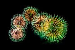 Exhibición coloreada de los fuegos artificiales en fondo oscuro del cielo Imágenes de archivo libres de regalías