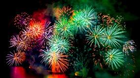 Exhibición coloreada de los fuegos artificiales en fondo oscuro del cielo Foto de archivo
