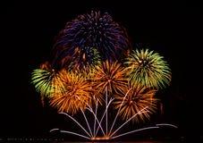 Exhibición colorida de los fuegos artificiales Foto de archivo libre de regalías