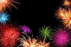 Exhibición colorida de los fuegos artificiales en negro Imágenes de archivo libres de regalías