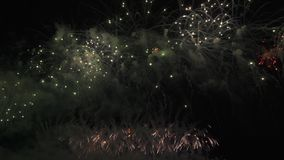 Exhibición colorida hermosa de los fuegos artificiales para la celebración en el fondo negro, vídeo de la cantidad de la acción d almacen de video