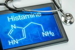 Exhibición con la fórmula química de la histamina fotos de archivo
