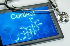 Exhibición con la fórmula química del cortisol Fotografía de archivo libre de regalías